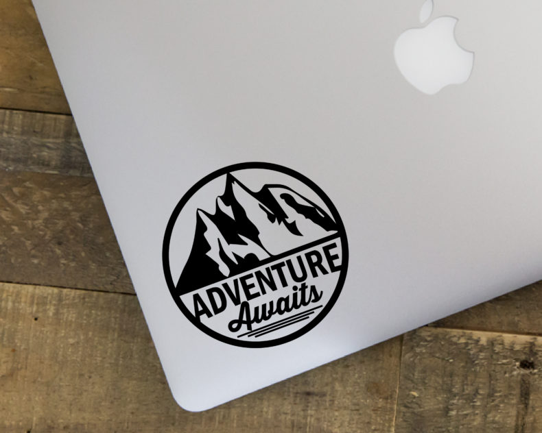 Adventure awaits laptop decal