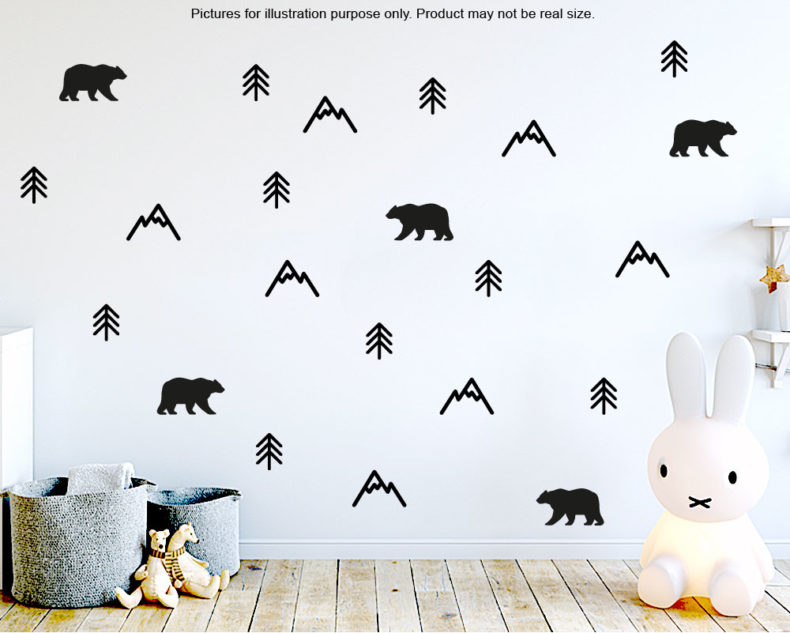 Scandinavian Mountain wall pattern decals