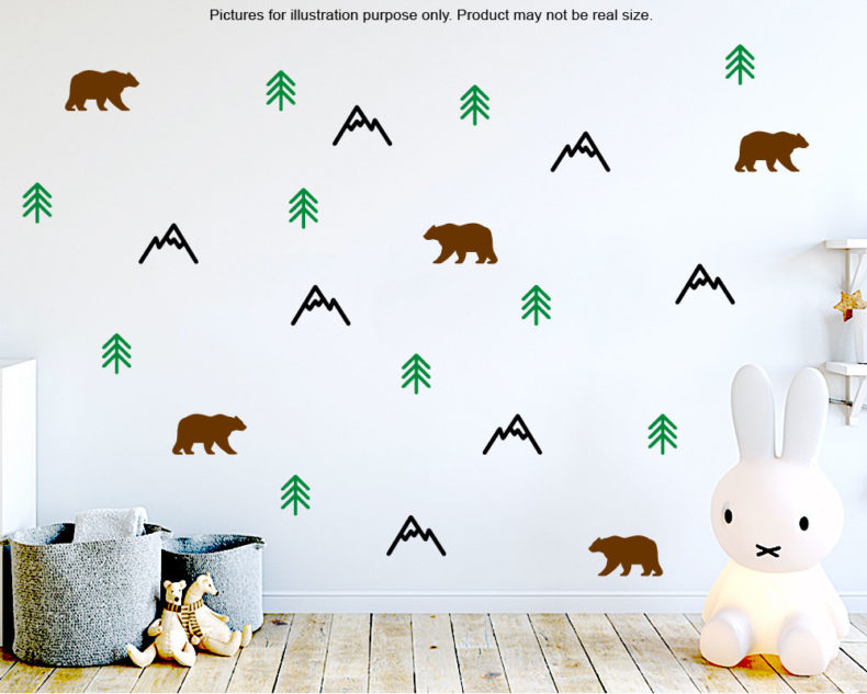 Scandinavian Mountain wall pattern stickers