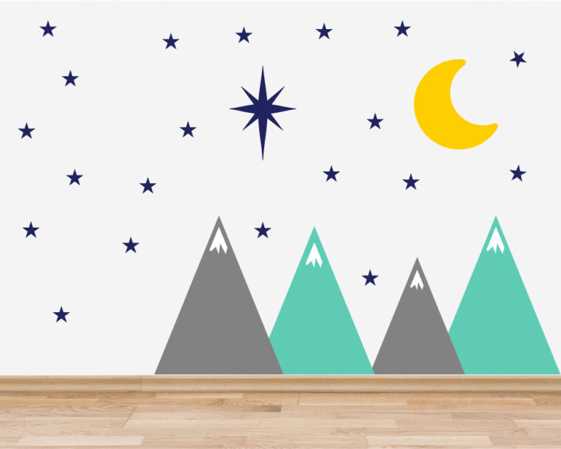 Mountains Stars Moon Wall Decals