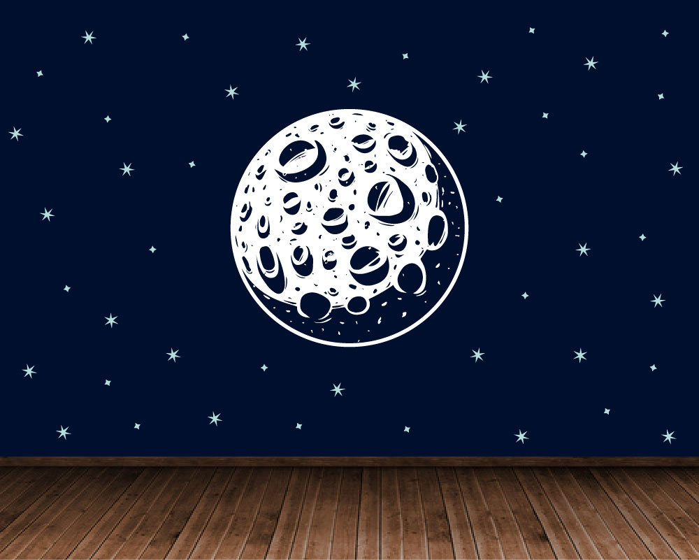 Moon in space wall decal