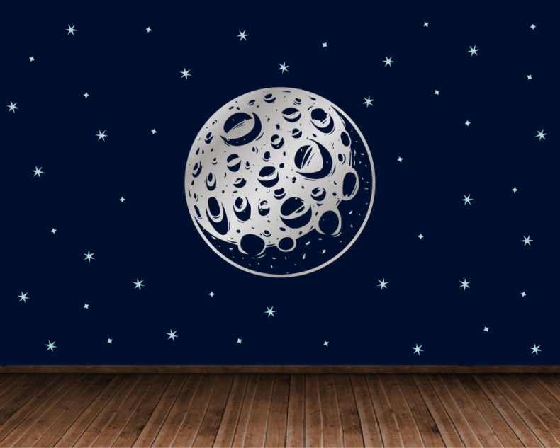 Silver moon decal with stars