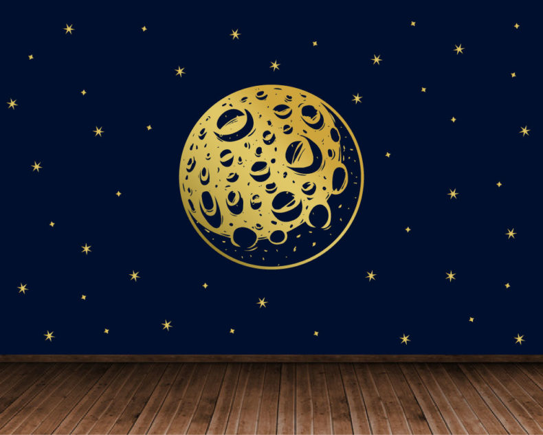 Gold moon decal with stars