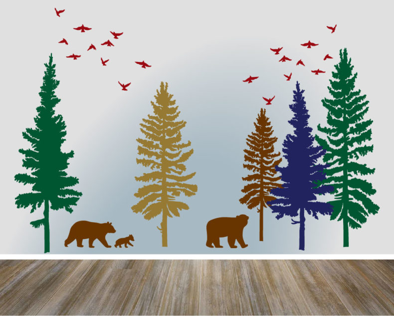 Pine trees bears and birds decal