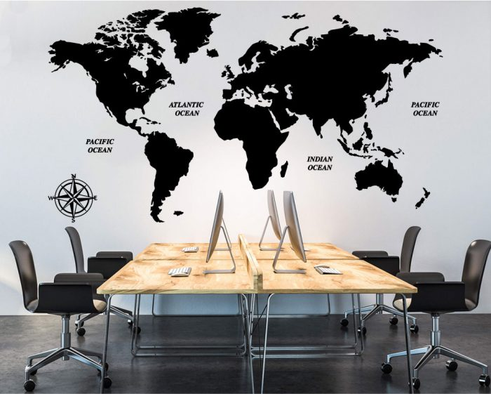 World map with compass wall decal