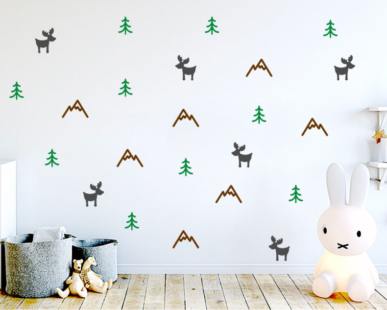 Woodland pattern Scandinavian wall stickers