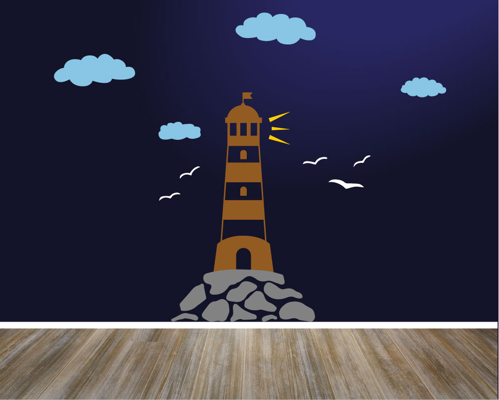 Lighthouse wall decal with clouds and seagulls