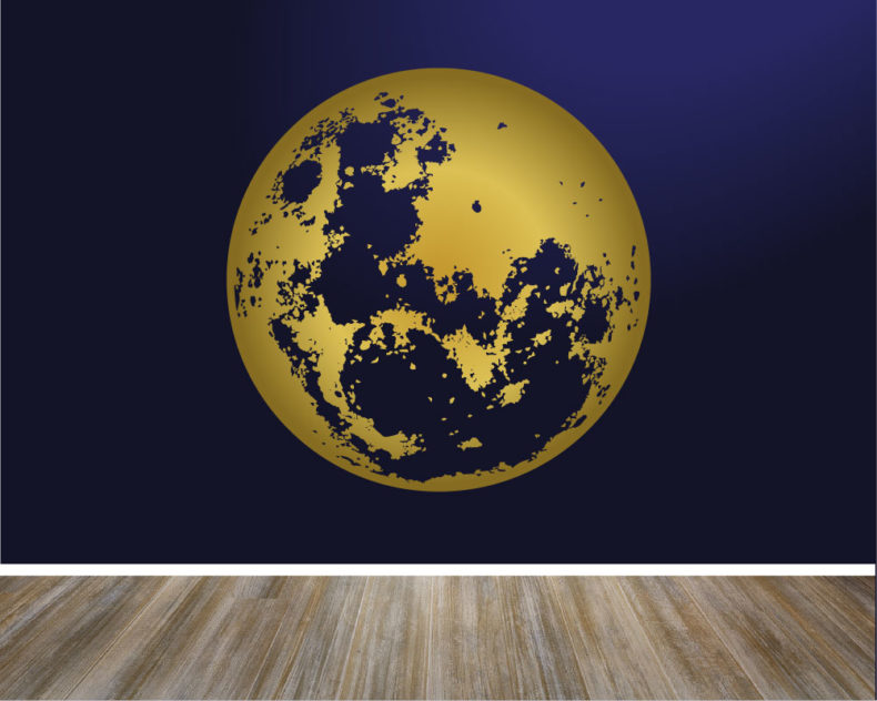Gold moon wall decal