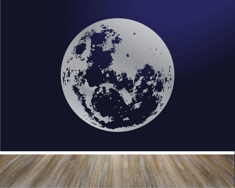 Silver moon wall decal