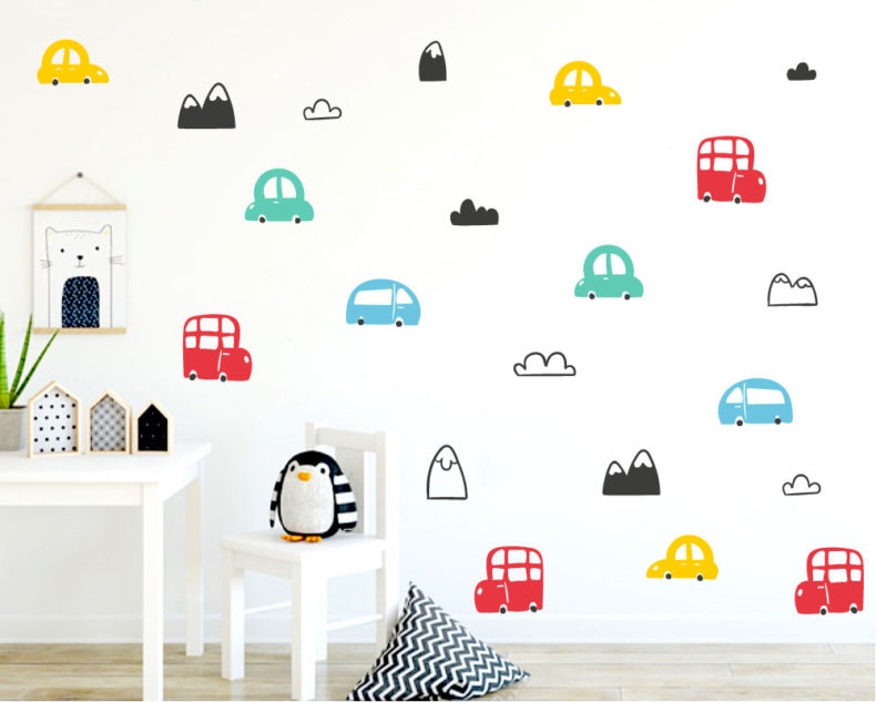 Cars and mountains pattern wall decals