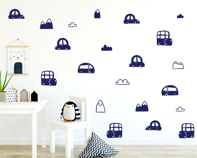 Cars and mountains pattern wall stickers