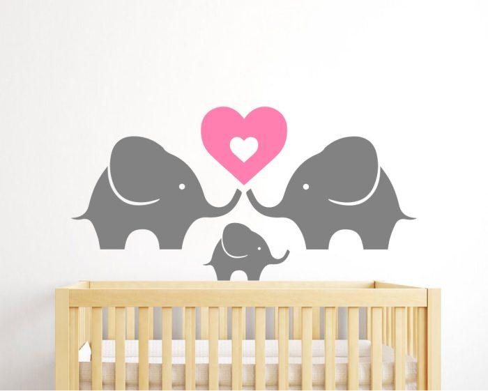 Elephant family wall decal for nursery