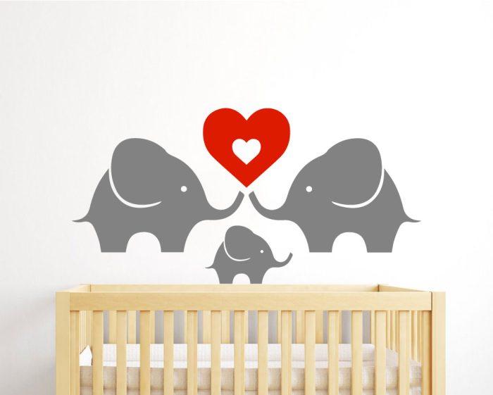 Elephant family wall sticker for nursery