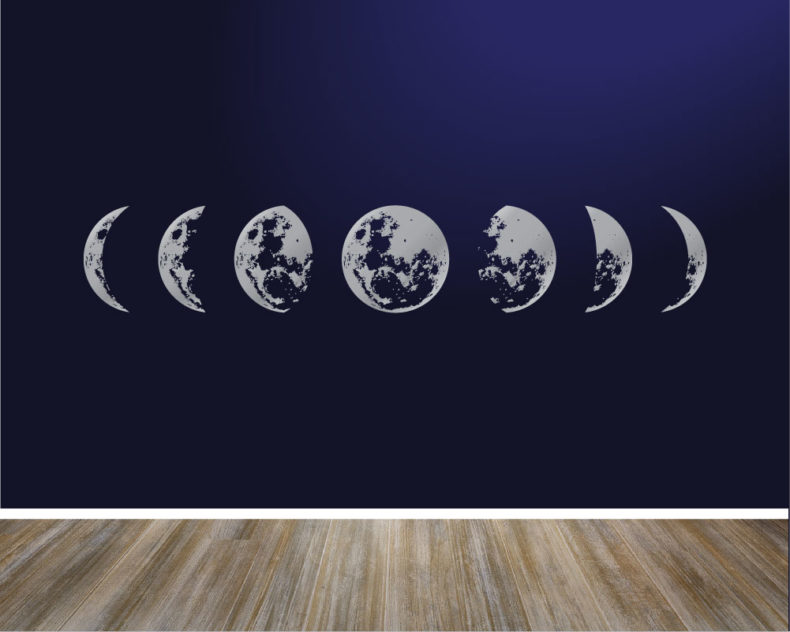 Moon phases silver wall decal
