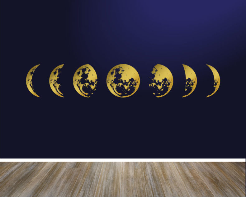 Moon phases gold wall decal