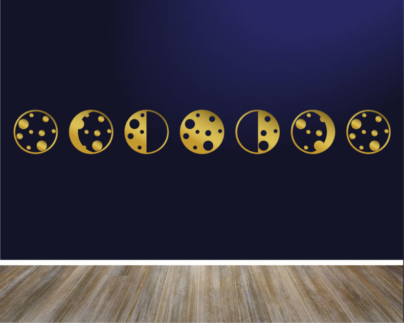 Phases of the moon metallic gold decal