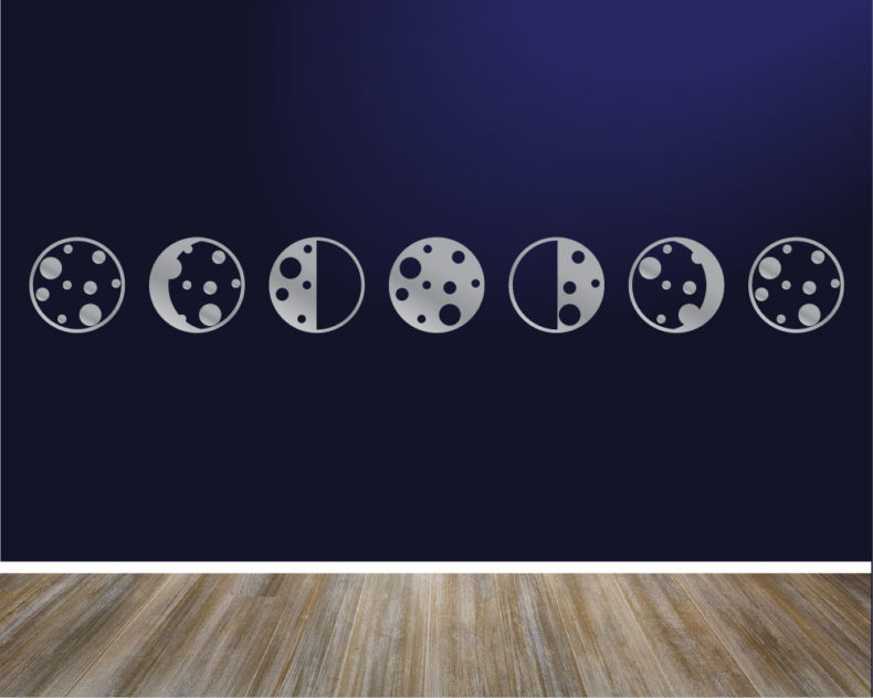 Phases of the moon wall decal