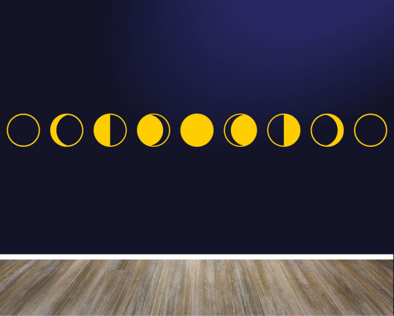 Minimalist yellow moon phases decal