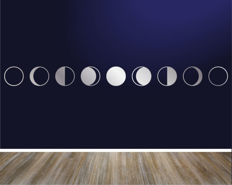 Minimalist silver moon phases decal