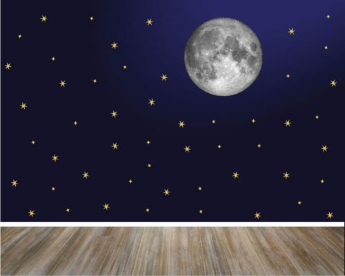 Moon and stars wall decal
