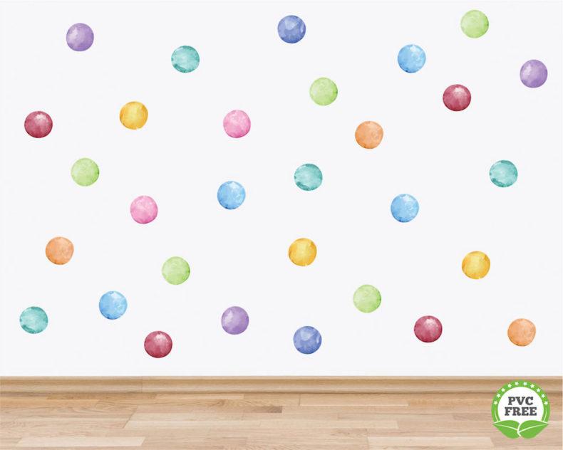 Watercolour polka dot wall decals
