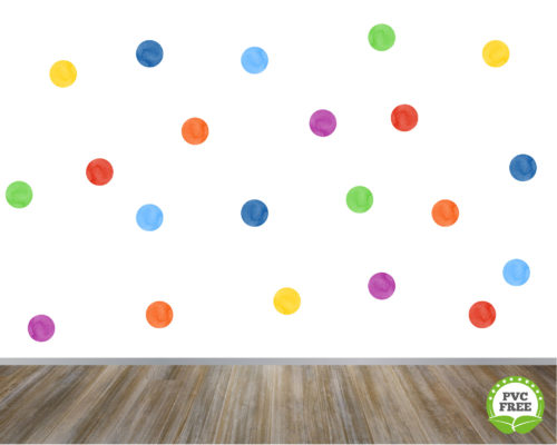 Watercolour rainbow polka dot wall stickers